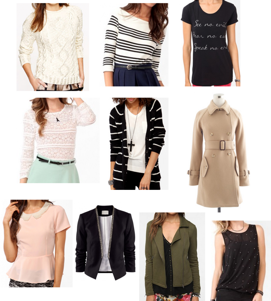 tops and outerwear dec
